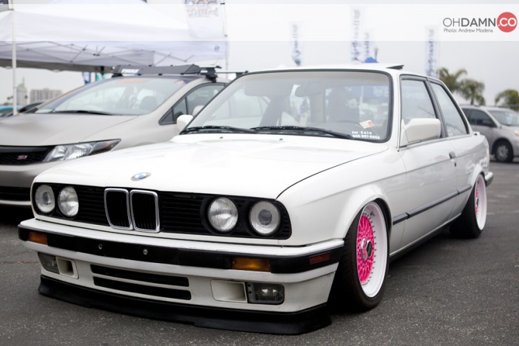 White BMW E30 Coupe on Pink and White BBS RS