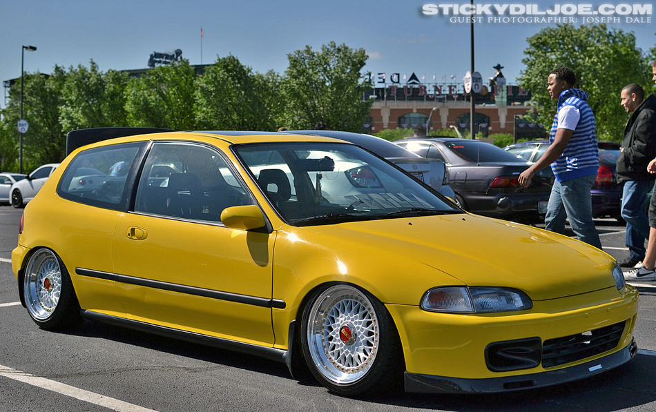 "Yellow Honda Civic EG Hatchback on 16"" White BBS RS"