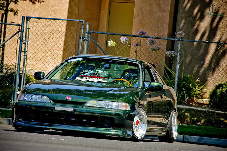 Green Acura Integra DC on 15 inch BBS RS