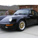 Black Porsche 911 Turbo on Gold BBS RS