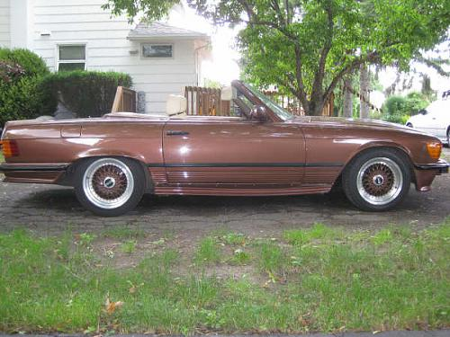 "Brown Mercedes Benz 500SL R107 on 16"" Brown BBS RS"