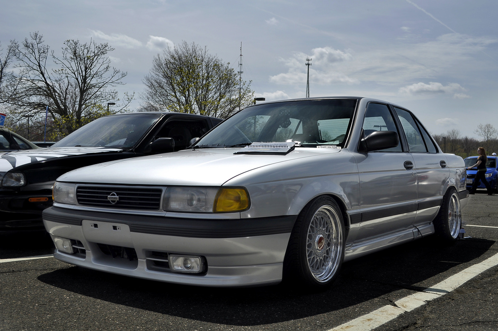 Silver Nissan Sentra B13 on Staggered BBS RM