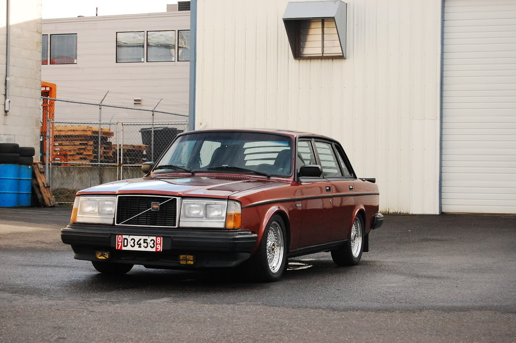 Red Volvo 240 on Silver BBS RS