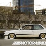 White BMW 325i E30 on Gold BBS RS