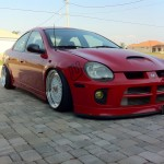 "Red Dodge Neon SRT4 on 17"" White BBS RS"