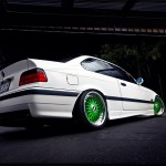 White BMW E36 M3 on Green BBS RC