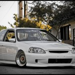 BBS RM on White EK Honda Civic