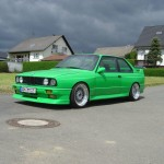 Green BMW E30 M3 on 17