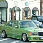 Old School Big Body Green Mercedes Benz w126 on Gold BBS RS