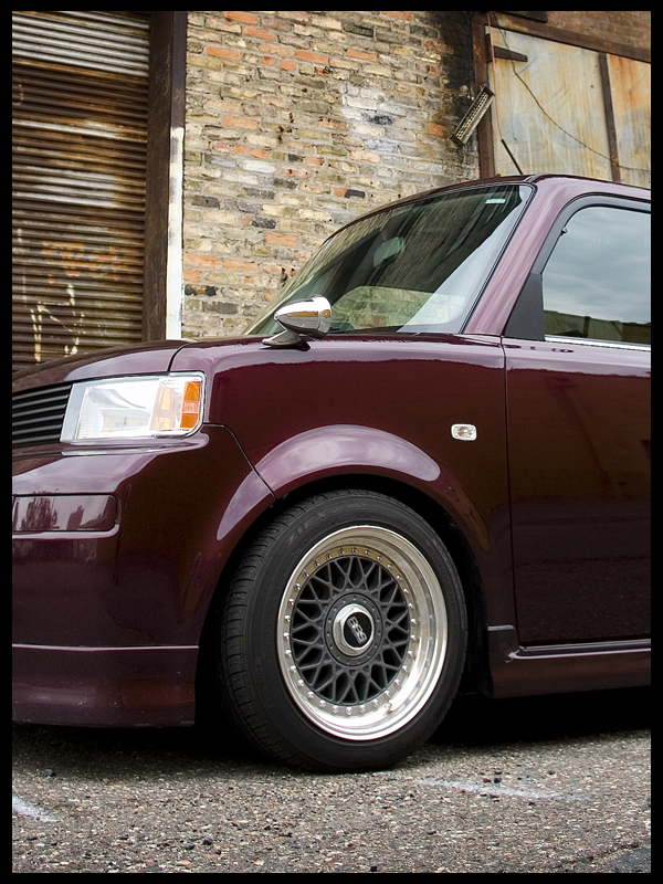 Red Scion XB on 15x8 Grey BBS RM Wheels