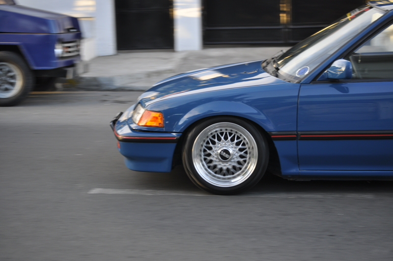"Blue Honda Civic EF on 15"" BBS RS"