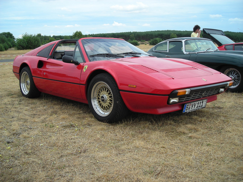 Red Ferrari 308 GTS on Gold BBS RS