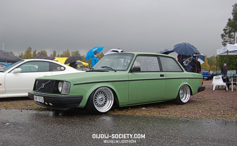 Green Volvo 242 Coupe on Wide BBS RS