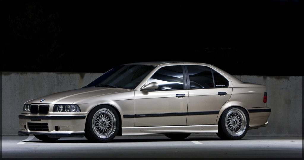 "Champagne BMW 325i E36 on 17"" Silver BBS RS"