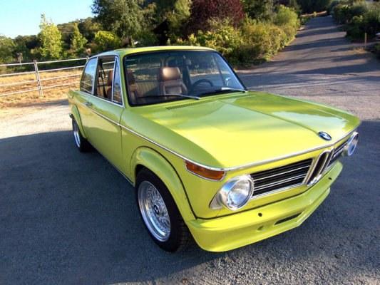 "Yellow BMW 2002tii E12 on 15"" BBS RS"