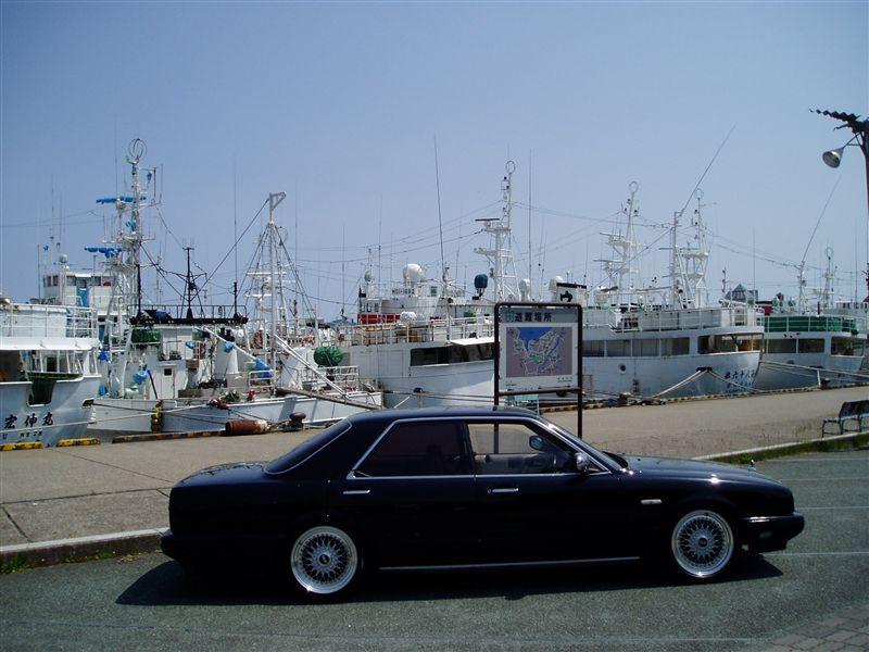 "Black Nissan Cima on Silver 17"" BBS RS"
