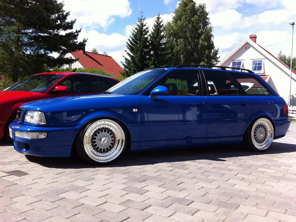 "Blue Audi RS2 Avant Wagon on 18"" Silver BBS RS"