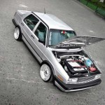 Silver Volkswagen Jetta MK2 on Silver BBS RS
