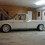 White Volkswagen Caddy on Really Wide White BBS RM