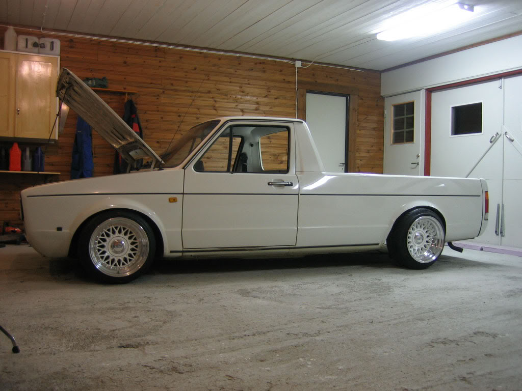 Volkswagen Rabbit Pickup Caddy on white BBS RM