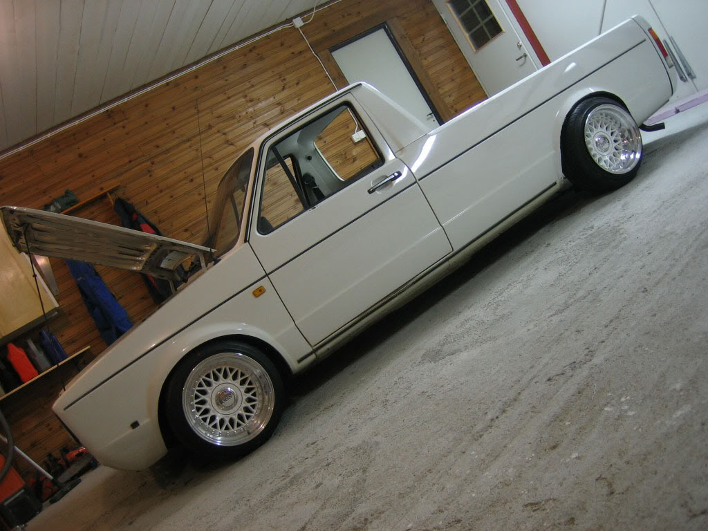 Volkswagen Rabbit Pickup Caddy on white BBS RM