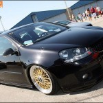 "Black Volkswagen Golf MK5 on 17"" Gold BBS RS"
