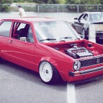 "Red Volkswagen Rabbit MK1 on 15"" White BBS RM"