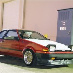 "Red AE86 Toyota Corolla on 15x8.5"" Gold BBS RS"