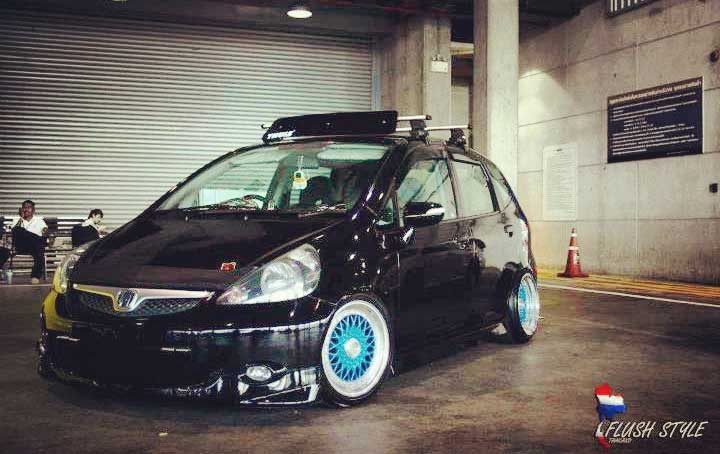 Black Honda Fit on Blue BBS RS