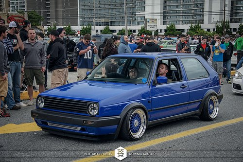 Blue Volkswagen Golf Blue on BBS RS