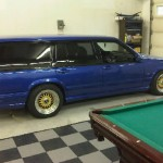 Blue Volvo 240 Wagon on Gold BBS RS Wheels