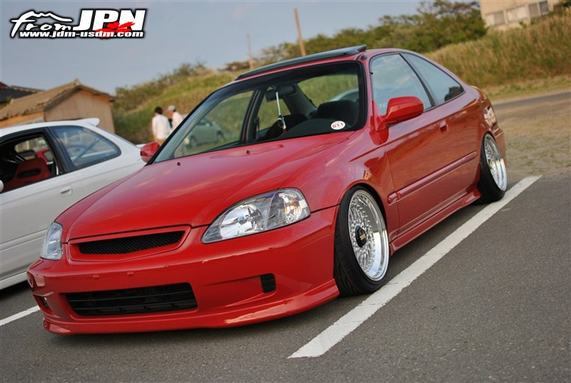 "Red EK Honda Civic Si Coupe on 16"" Silver BBS RS"