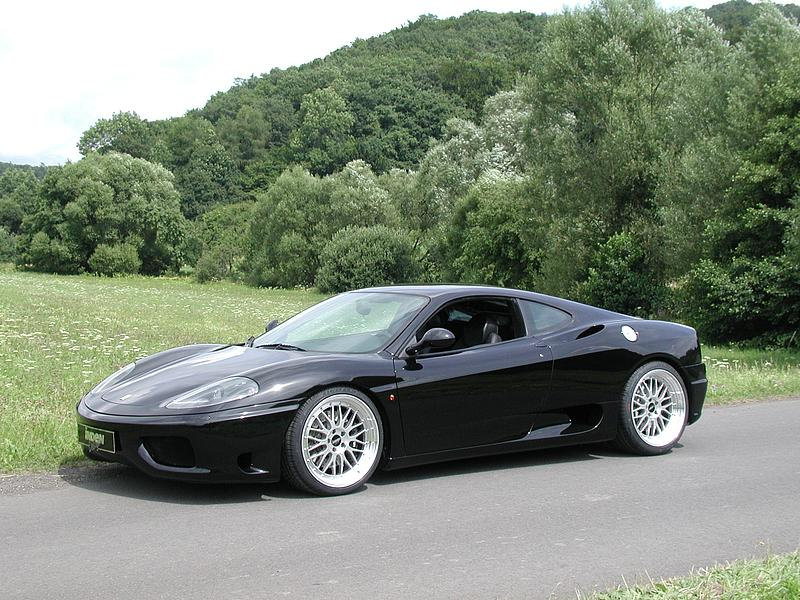 Black Ferrari 360 on Silver BBS LM