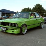 Green BMW E21 on Green BBS RS