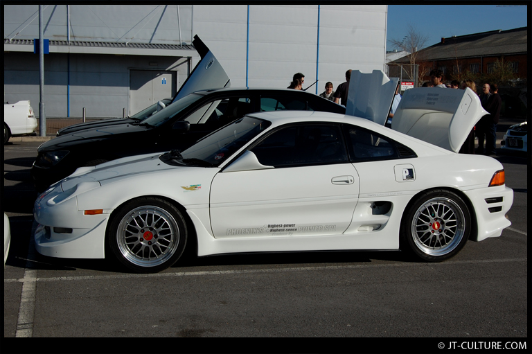 """White JDM Toyota MR2 Sw20 on 17""""/18""""Silver BBS LM"""