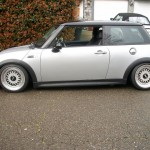 Silver Mini Cooper on Silver and Black 16