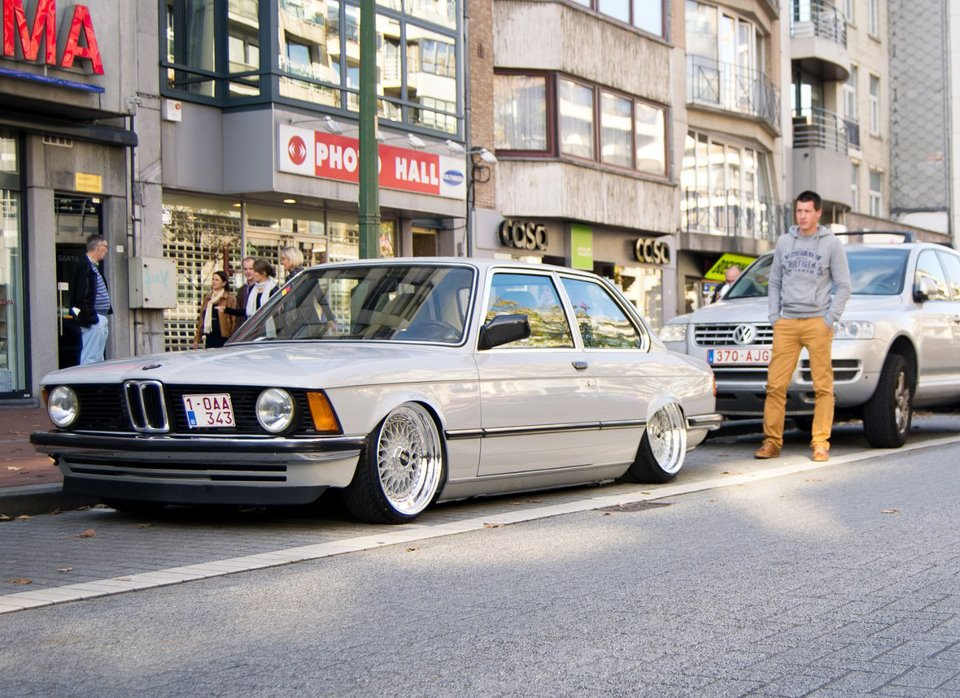 "Silver BMW E21 Slammed on Silver 16"" BBS RS"