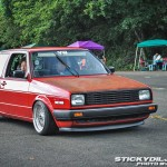 Red Volkswagen Golf MK2 on Silver 15