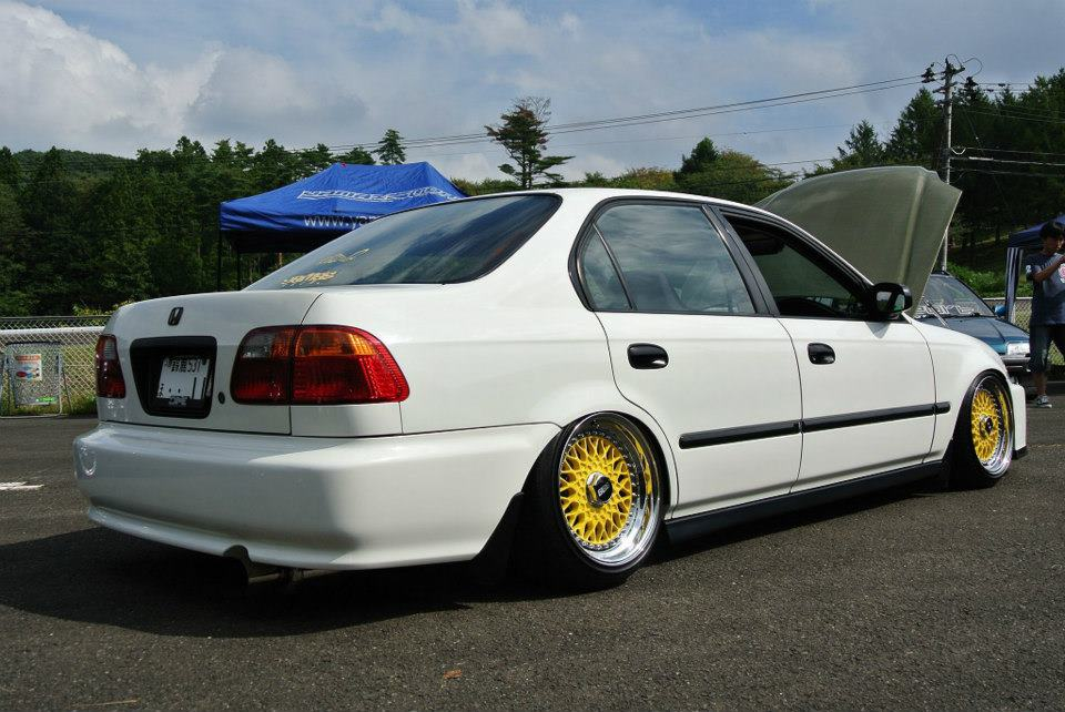 Yellow BBS RS on White EK Honda Civic