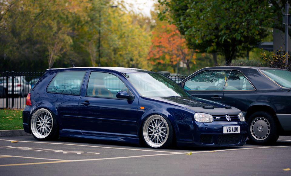 Blue Volkswagen Golf MK4 on Silver BBS LM