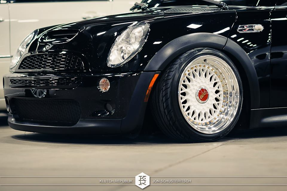Black Mini Cooper on White Silver BBS RS
