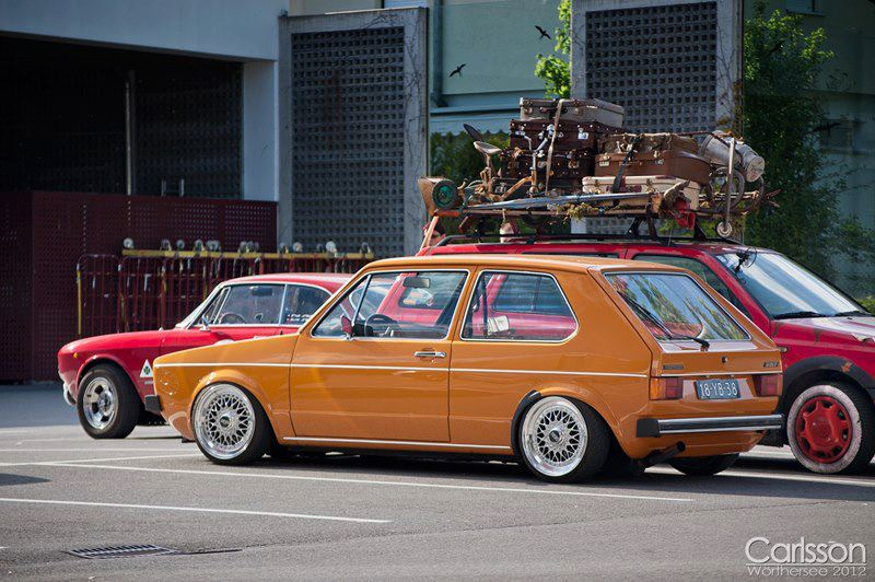"Orange Volkswagen Rabbit on 15"" BBS RS"