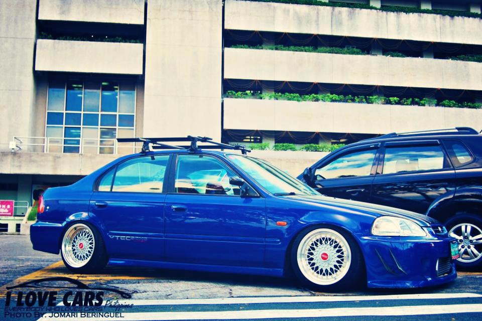 Blue EK Honda Civic Sedan on Silver BBS RS