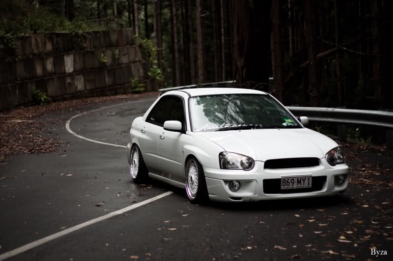 White BBS RS on White Subaru Impreza