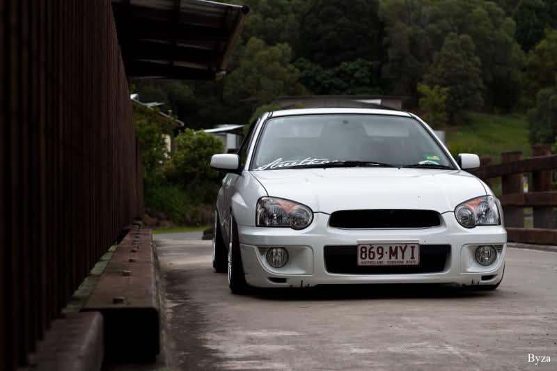 White BBS RS on White Subaru Impreza